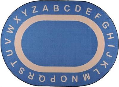 "Joy Carpets Kid Essentials Early Childhood Oval Endless Alphabet Rug, Seaside, 5'4"" x 7'8"""