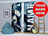 Factory4me Personalized Custom Football Window Curtains Panels With Your Name For Teen Boy Nursery Men Kids Room Personalized Bedroom Stadium Print Curtain 96 Inches Review