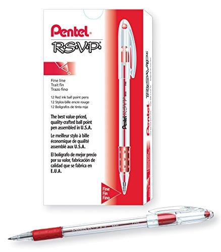 Pentel BK90B R.S.V.P. Stick Ballpoint Pen, .7mm, Trans Barrel, Red Ink (Pack of 12)