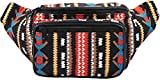 SoJourner Aztec Fanny Pack - Boho Festival Packs for men, women | Cute Waist Bag Fashion Belt Bags (black)