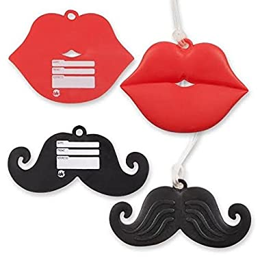 Mr. & Mrs. Luggage Tags shaped as Mustache & Kiss! Wedding Gifts!