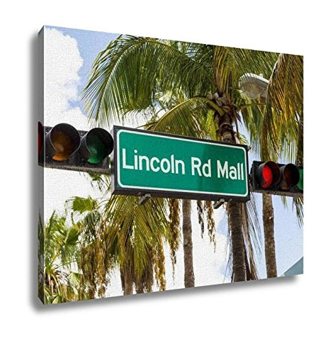 Ashley Canvas, Lincoln Road Mall Street Sign Located In Miami Beach, Kitchen Bedroom Dining Living Room Art, 24x30, - Beach Lincoln Miami Mall