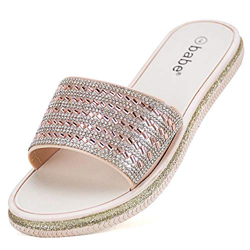 VONMAY Women Flat Slide Sandal Slip on Band Slipper Rhinestone Glitter Design Rose Gold 8 M US