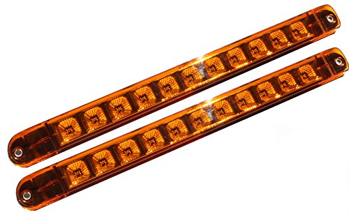 """+++ Bright Pair Amber 17"""" LED Truck Trailer Turn Tail Parking Signal Clearance Marker Identification Light Bar w Chrome Reflector (WATERPROOF)"""