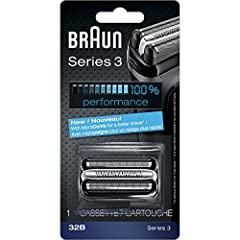 Get your shaver back to 100% performance with the Braun Series 3 32b replacement head. Braun recommends changing your shaver's blades every 18 months to maximize shaving performance and comfort. With this shaver head you will get back to the ...
