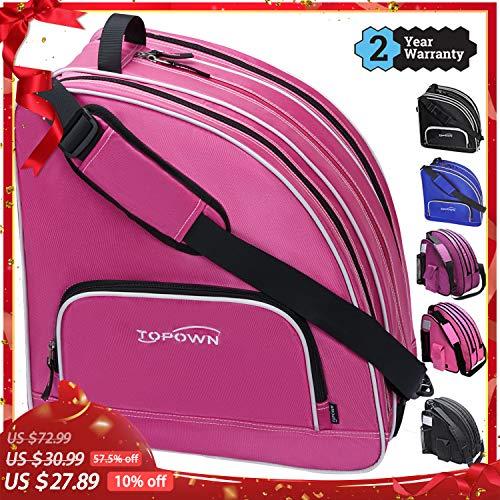 TOPOWN Premium Skate Bag, Ice & Inline Skates Multi-Function Skate Bag, Shoulder Carry Skate Equipment Bag for Boys and Girls, Black/Rose Red Roller Skate Bag for Size 3 - 10.5
