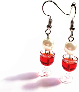 Xeminor Food Jewelry Glass of Wine Earrings,Women Charm Dangle Earrings for Party Wedding red SuperiorQuality and Creative