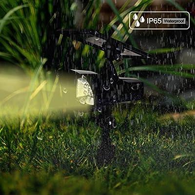 Solar Lights, Kitclan Adjustable Waterproof Outdoor Spotlights, 8 LED Solar Wall/Ground Lights, Landscape Lights with Security Auto-On/Off Sensor for Garden, Yard, Lawn, Pathway