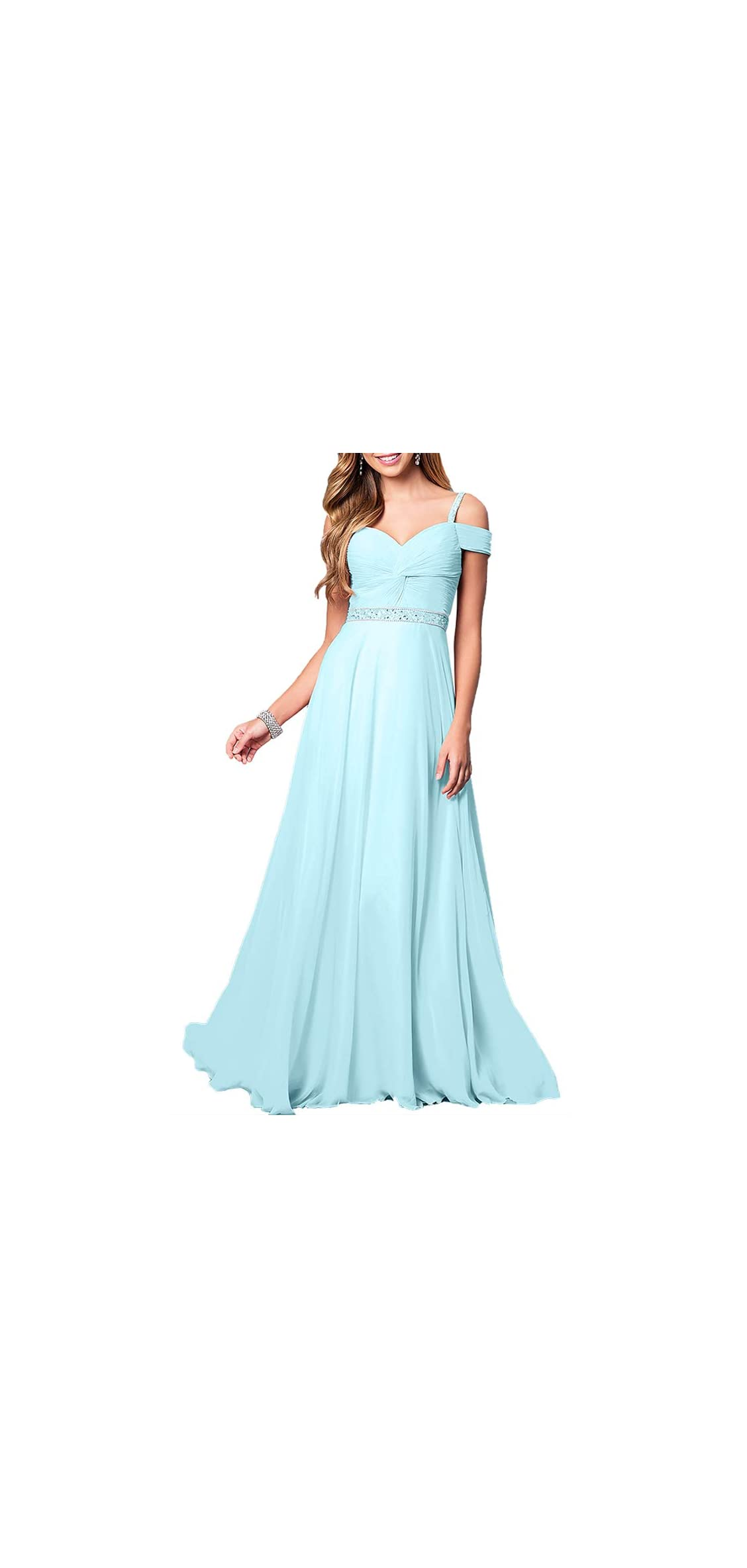 New Lace Long Chiffon Formal Evening Bridesmaid Dresses