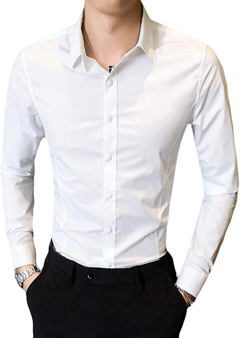Fubotevic Men Solid Color Casual Shirt Cotton Slim Fit Long Sleeve Button Front Shirt