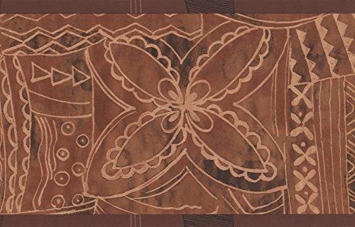 Brown Beige Abstract Wallpaper Border Geometric Design, Roll 15' x 7'' ()