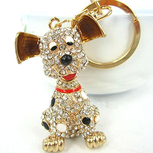 - ZJKJ Crystal Dog Keychain Rhinestone Purse Bag Charm Pendant Keyring Gift for Girl Woman Lady
