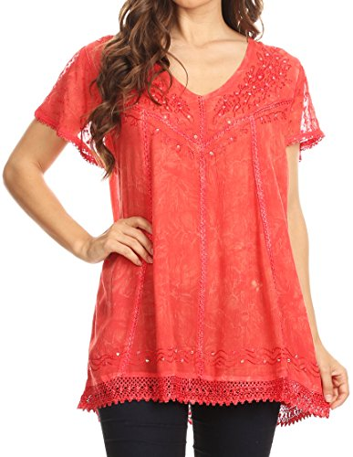 The Color Coral (Sakkas 15774 - Hope Embroidery and Seqiun Accents Summer Blouse - Coral - OS)