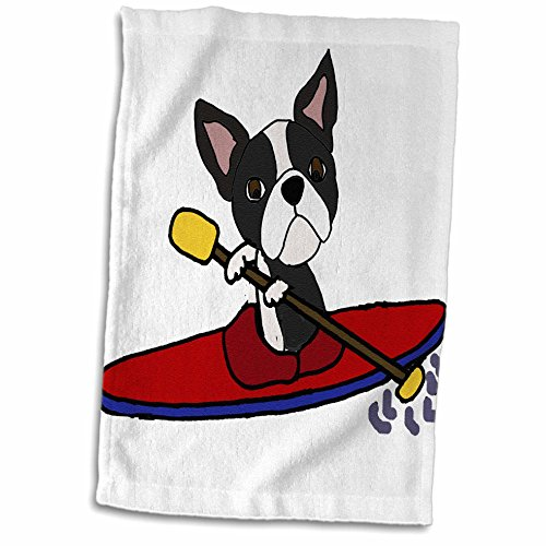 (3dRose All Smiles Art Sports and Hobbies - Funny Cute Boston Terrier Puppy Dog Kayaking Cartoon - 15x22 Hand Towel (twl_260972_1))