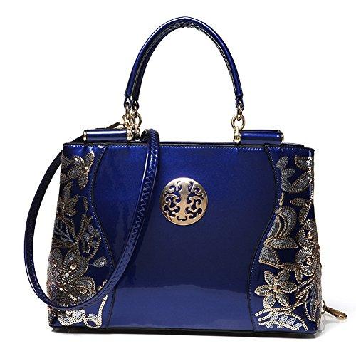 (G-AVERIL) Borsa 4Colour Bauletto da Donna Elegante con Manici e Tracolla in pelle blu