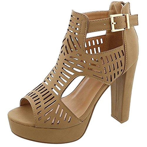 TOP Moda TTms Womens Cutout Gladiator Peep Toe Platform Chunky High Heel Sandals Tan