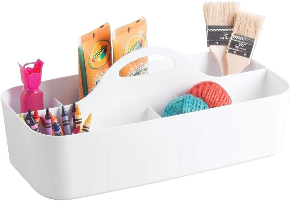 mDesign Plastic Portable Craft Storage Organizer Caddy Tote, Divided Basket Bin with Handle for Craft, Sewing, Art Supplies - Holds Paint Brushes, Colored Pencils, Stickers, Glue, X-Large - White