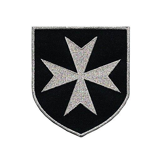 VEGASBEE CROSS MALTESE CHRISTIAN SAINT JOHN KNIGHTS HOSPITALLER ORDER SILVER EMBROIDERED (Maltese Cross Patches)