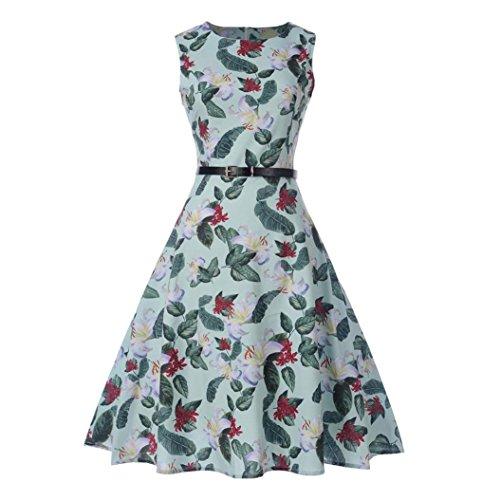 Clearance!Women Vintage Dress,Rakkiss Popular Skirt Sleeveless O Neck Evening Print Party Dress