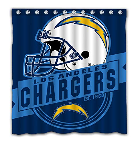 Felikey Custom Los Angeles Chargers Waterproof Shower Curtain Colorful Bathroom Decor Size 66x72 Inches