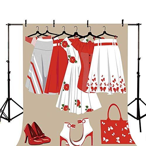 (Heels and Dresses Stylish Backdrop,Summer Young Womens Clothing on Hangers Handbag Shoes Feminine Wardrobe Decorative for Photography,118