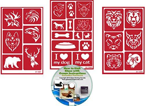 Domestic & Wild Animal Stencils, Reusable - (3) Pack with Dog, Cat, Deer, Elk, Fish, Eagle, Wolf, Bear, Lion, Tiger, Ram, Cougar, Jaguar + How to Etch CD