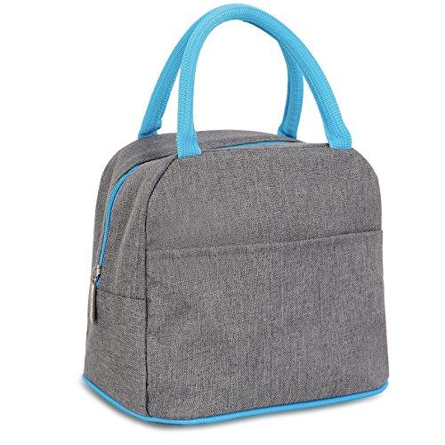 Toy Bag Denim (Buringer Denim Reusable Thermal Foldable Lunch Tote Bag Cooler Bag Insulated Lunch Box Picnic Bag School Cooler Bag for Men Women Ladies Girls Children Kids Student (Style B))