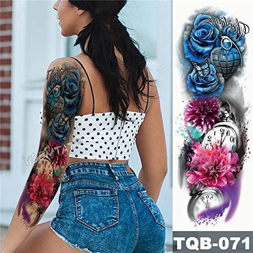 Rosa azul brazo grande manga tatuaje mariposa corazón impermeable ...