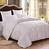 HOMFY Premium Cotton Comforter King, Quilted Comforter with Corner Tabs, Hypoallergenic, Soft and Breathable (White, King)