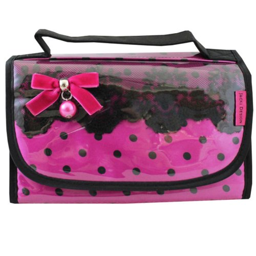 hot-pink-and-black-jacki-design-cosmetic-travel-case