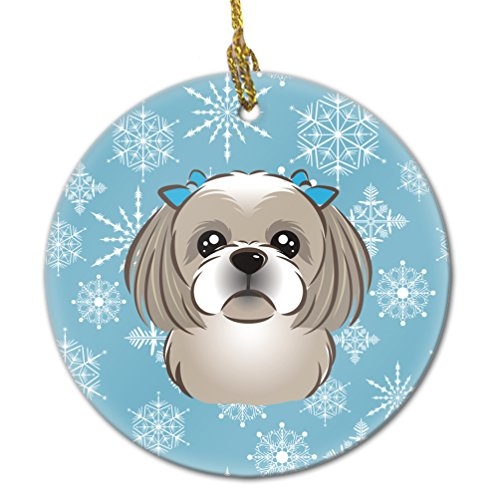 Caroline's Treasures BB1684CO1 Snowflake Gray Silver Shih Tzu Ceramic Ornament, Multicolor