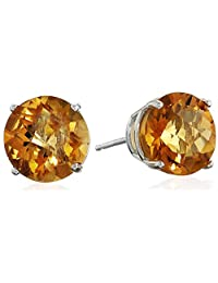 10k Gold Round Checkerboard Gemstone Stud Earrings (8mm)
