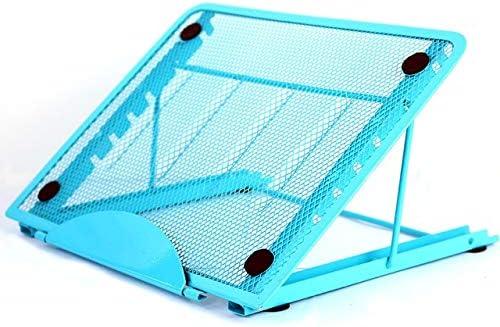 Color : Blue Portable Desktop Folding Cooling Metal Mesh Adjustable Ventilated Holder