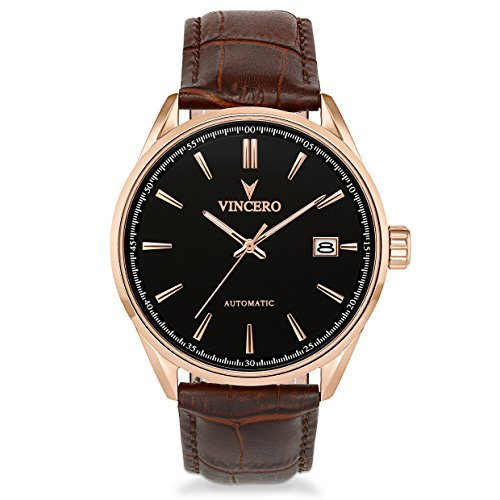 Vincero Luxury Men's Automatic Kairos Wrist Watch - Rose Gold with Brown Leather Watch Band - 42mm Automatic Watch - Japanese Automatic Movement ()