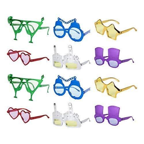 ac7479d70290 Set of 12 Assorted Value Novelty Selfie Fancy Dress Glasses  Amazon.co.uk   Toys   Games