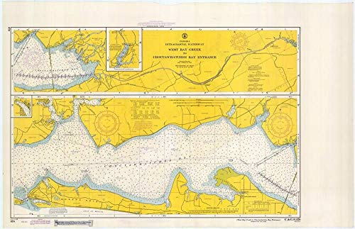 Vintography Gallery Wrap Art Canvas 18 x 24 Image of 1967 Nautical Chart West Bay Creek to Choctawhatchee Bay Entrance FL