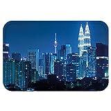 VROSELV Custom Door MatCityscape Kuala Lumpur Skyline at Night KLCC Twin TowerMalaysian Landmark Monochromic Photo Decor Navy Black