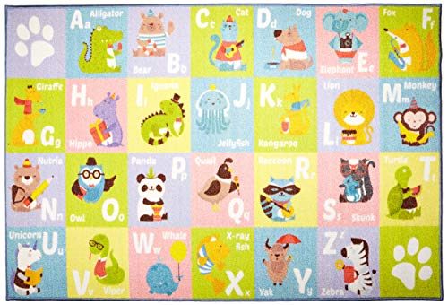 KC CUBS Kev & Cooper Playtime Collection ABC Alphabet Animal Educational Area Rug - 3'3