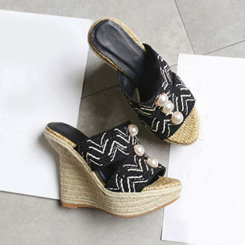 Wedge Heel Slides on Slip Womens High Mules Black Platform GIY Heels High Sandals Espadrille Peep Toe qwFxfEXw
