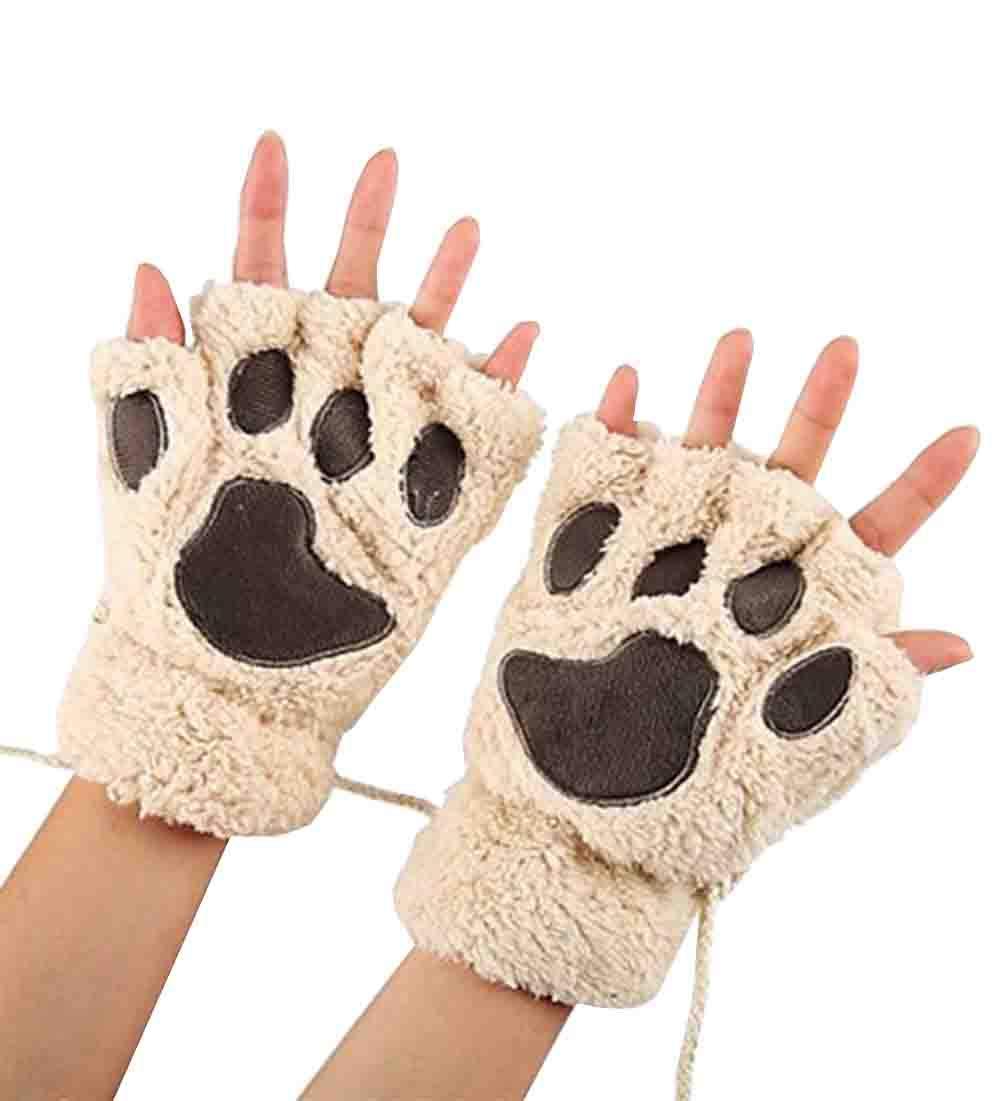 Mackur 1 par Guantes de Invierno c/álidos para Gatos sin Dedos Piel sint/ética Beige Small