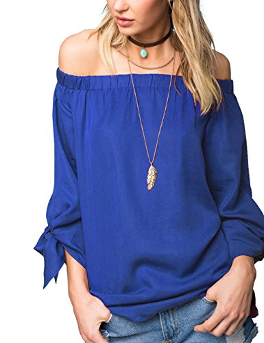 Off The Shoulder Peasant Top - Just Quella Women's Off The Shoulder Top Blouse 8422 (M, Blue)