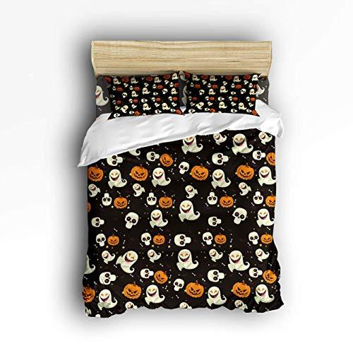 VANKINE Twin 4 Piece Comforter Bedding Set Duvet Cover Sets,Black Halloween Horror Ghost Pumpkin Bat Bed Sheet Set,Duvet Cover Flat Sheet Pillow -