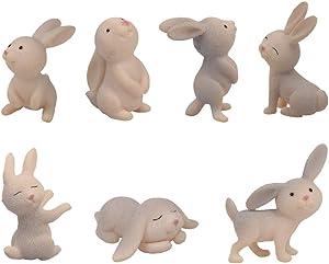 QTFHR 7 pcs Cute Rabbit Animal Figurine Crafts DIY Miniature Garden Miniature House Home Decoration (Gray)