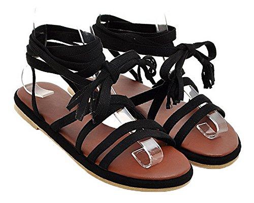 Negro Mini Sandalias Cordones Abierta Vestir Aalardom Tacón De Puntera Mujeres FqxOwtzH