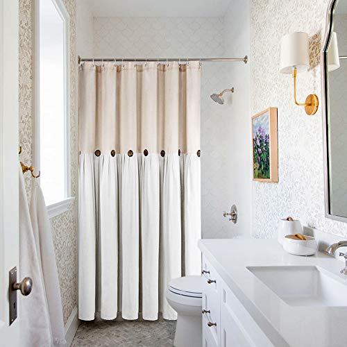 Reisen Linen Farmhouse Shower Curtain Button Beige and White Shower Curtains for Bathroom, 72\