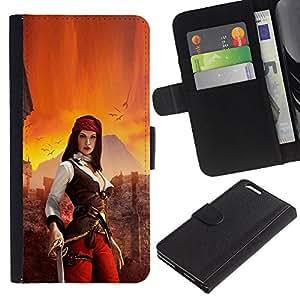 Protector de cuero de la PU de la cubierta del estilo de la carpeta del tirón BY RAYDREAMMM - Apple Iphone 6 PLUS 5.5 - Mujer pirata