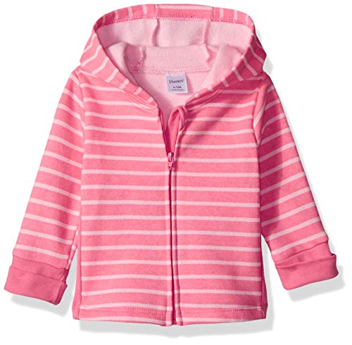 Hanes Ultimate Baby Zippin Fleece Hoodie, Pink Stripes Print 12-18 Months - Baby Sweater Set