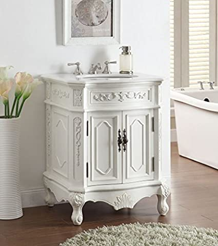 27u201d Antique White Spencer Sink Vanity Cabinet # HF 3305W AW 27