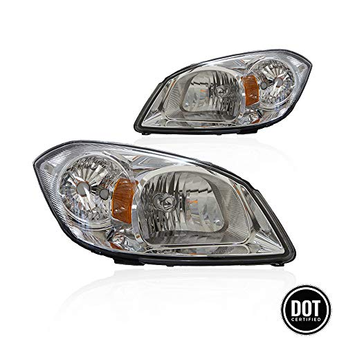 (Headlights Replacement GCVCB05-A2 With Clear Lens Chrome Housing Amber Reflector For 2005-2010 Chevrolet Cobalt And 2007-2009 Pontiac G5 Headlamp New For Driver And Passenger Side 22740621 2274062)