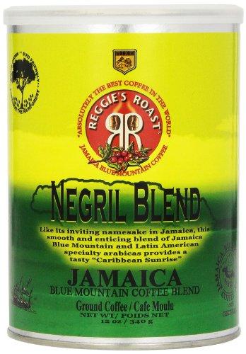Reggies Roast - Reggie's Roast Jamaica Blue Mountain Negril Blend Ground Coffee, 12-Ounce Cans (Pack of 3)